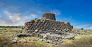 Picture and image of the exterior walls of the prehistoric magalith ruins of Santu Antine Nuraghe tower and nuragic village archaeological site, Bronze age (19-18th century BC), Torralba, Sardinia. .<br /> <br /> If you prefer you can also buy from our ALAMY PHOTO LIBRARY  Collection visit : https://www.alamy.com/portfolio/paul-williams-funkystock/santu-antine-nuraghe-sardinia.html<br /> Visit our PREHISTORIC PLACES PHOTO COLLECTIONS for more   photos  to download or buy as prints https://funkystock.photoshelter.com/gallery-collection/Prehistoric-Neolithic-Sites-Art-Artefacts-Pictures-Photos/C0000tfxw63zrUT4