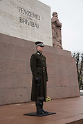 Armed guards at the Freedom Monument on the 15th Febuary 2019 in Riga in Latvia. The Freedom Monument is a memorial honouring soldiers killed during the Latvian War of Independence. Its considered an important symbol of the freedom, independence, and sovereignty of Latvia.