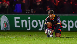 Dragons' Gavin Henson prepares for a kick at goal<br /> <br /> Photographer Craig Thomas/Replay Images<br /> <br /> EPCR Champions Cup Round 4 - Newport Gwent Dragons v Newcastle Falcons - Friday 15th December 2017 - Rodney Parade - Newport<br /> <br /> World Copyright © 2017 Replay Images. All rights reserved. info@replayimages.co.uk - www.replayimages.co.uk