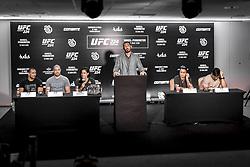 March 20, 2018 - Brazil - RIO DE JANEIRO, RJ - 20.03.2018: COLETIVA UFC 224 NUNES X PENNINGTON - Thales Leites, Davi Ramos, Amanda Nunes, Rodrigo Minotauro, Raquel Pennington and Lyoto Machida during the press conference for the UFC 224 sales opening announcement: Nunes x Pennington, event scheduled for May 12 at Jeunesse Arena, in Rio de Janeiro. (Credit Image: © Fotoarena via ZUMA Press)