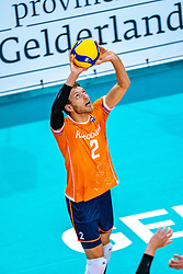 Wessel Keemink of Netherlands in action during the CEV Eurovolley 2021 Qualifiers between Sweden and Netherlands at Topsporthall Omnisport on May 14, 2021 in Apeldoorn, Netherlands