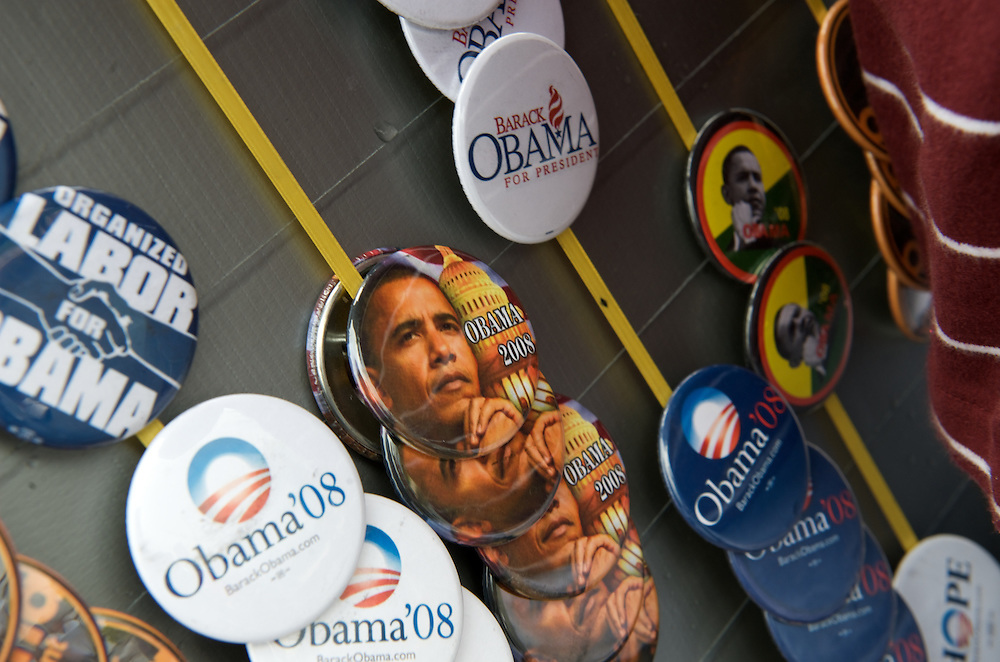 Senator Barack Obama campaigns in Pennsylvania. Vendors hawk pins, t-shirts, and placards outside of each venue.