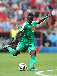 MOSCOW, June 19, 2018  Idrissa Gana Gueye of Senegal shoots during a Group H match between Poland and Senegal at the 2018 FIFA World Cup in Moscow, Russia, June 19, 2018. (Credit Image: © Ye Pingfan/Xinhua via ZUMA Wire)