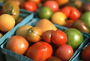 Close up selective focus photograph of containers of Heirloom tomatoes