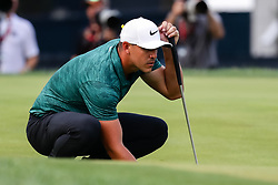 August 12, 2018 - St. Louis, MO, U.S. - ST. LOUIS, MO - AUGUST 12: Brooks Koepka (USA) lines up his putt on the 18th green during the PGA Championship August 12, 2018, at Bellerive Country Club in St. Louis, MO.  (Photo by Tim Spyers/Icon Sportswire) (Credit Image: © Tim Spyers/Icon SMI via ZUMA Press)