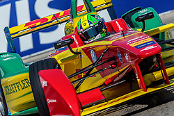 """LONG BEACH, CA - APRIL 2: Abt Schaeffler Audi Sport driver Lucas di Grassi wins the 2016 FIA Formula E Faraday Future Long Beach ePrix. """"I'm very happy to show that if you keep your focus, keep up your work, good results come,"""" he said. """"From the outside races always look comfortable, this is a tricky track, it's very easy to do mistakes, it was an extremely difficult race. Stephane was quick and was putting pressure on me. It's an extremely difficult car to drive on the edge so we had no comfort in winning the race, we just had to focus on making no mistakes."""" on April 2, 2016 in Long Beach, California. Byline, credit, TV usage, web usage or linkback must read SILVEXPHOTO.COM. Failure to byline correctly will incur double the agreed fee. Tel: +1 714 504 6870."""