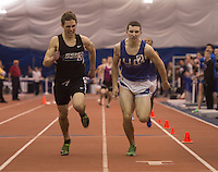 The NJSIAA Non Public A and B track and field Championships were held at The Bennett Center in Toms River. Gil St. Bernard's Brian Steck (left)  is neck and neck at the finish with Union Catholic's Andrew Ghizzone in the 800 meter Non-Public-B seeded race./ Russ DeSantis/For The Star Ledger - 2/15/13
