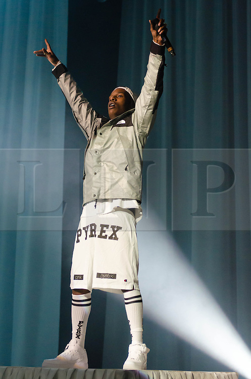 © Licensed to London News Pictures. 21/05/2013. London, UK.   ASAP Rocky performing live at Brixton Academy. Rakim Mayers, better known by his stage name, ASAP Rocky (stylized as A$AP Rocky), is an American rapper. He was born and raised in the New York City's Harlem neighborhood, he is a member of the hip hop collective ASAP Mob, from which he adopted his moniker.  Photo credit : Richard Isaac/LNP