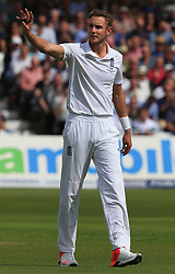 File photo dated 06-08-2015 of England bowler Stuart Broad celebrates taking his 300th test wicket during day one of the Fourth Investec Ashes Test at Trent Bridge, Nottingham.