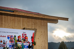 February 22, 2019 - Seefeld In Tirol, AUSTRIA - 190222 Silver medalist Jan Schmid of Norway, gold medalist Eric Frenzel of Germany and bronze medalist Franz-Josef Rehrl of Austria celebrate at the podium after competing in menÃ•s nordic combined 10 km Individual Gundersen during the FIS Nordic World Ski Championships on February 22, 2019 in Seefeld in Tirol..Photo: Joel Marklund / BILDBYRN / kod JM / 87882 (Credit Image: © Joel Marklund/Bildbyran via ZUMA Press)