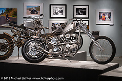 """Aki Sakamoto's HD panhead in Michael Lichter's annual Motorcycles as Art Show """"Naked Truth"""" at the Buffalo Chip during the 75th Annual Sturgis Black Hills Motorcycle Rally.  SD, USA.  August 6, 2015.  Photography ©2015 Michael Lichter."""