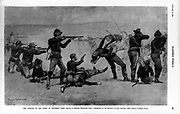 The opening of the fight at Wounded Knee; Seventh Cavalry in battle with Indians.   photomechanical print 1891.