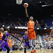 UNCASVILLE, CONNECTICUT- JULY 15:  Jonquel Jones #35 of the Connecticut Sun scores two points during the Los Angeles Sparks Vs Connecticut Sun, WNBA regular season game at Mohegan Sun Arena on July 15, 2016 in Uncasville, Connecticut. (Photo by Tim Clayton/Corbis via Getty Images)