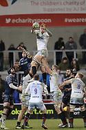 Saracens clean ball from line out during the Aviva Premiership match between Sale Sharks and Saracens at the AJ Bell Stadium, Eccles, United Kingdom on 16 February 2018. Picture by George Franks.