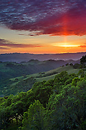 Sun pillar at sunset over oak trees and green hills in Spring, tMount Diablo State Park, Contra Costa County, California
