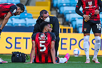 Football - 2020 / 2021 Sky Bet (EFL) Championship - Millwall vs AFC Bournemouth  - The Den<br /> <br /> Bourmemouth physio indicates that Lloyd Kelly (AFC Bournemouth) can no longer continue in the game <br /> <br /> COLORSPORT/DANIEL BEARHAM