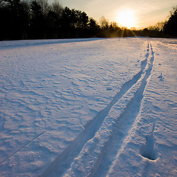Ski tracks at the Willowbrook Farm Preserve in Pembroke, Massachusetts.  Wildlands Trust of Southeastern Massachusetts.