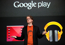 Google Engineering Director Chris Yerga, demonstrates features of Google Play during the opening keynote speech at the Google I/O Developer Conference in San Francisco, California.