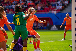 15-06-2019 FRA: Netherlands - Cameroon, Valenciennes<br /> FIFA Women's World Cup France group E match between Netherlands and Cameroon at Stade du Hainaut / Dominique Bloodworth Janssen #20 of The Netherlands scores 2-0, Annette Ngo Ndom #1 of Cameroon, Raissa Feudjio #8 of Cameroon