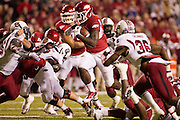 Nov 5, 2011; Fayetteville, AR, USA;  Arkansas Razorback runningback Broderick Green (29) carries the ball as South Carolina Gamecocks strong safety D.J. Swearinger (36) looks on during a game at Donald W. Reynolds Stadium.  Mandatory Credit: Beth Hall-US PRESSWIRE