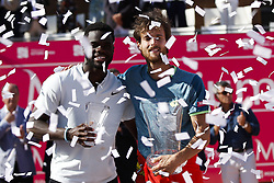 May 6, 2018 - Estoril, Portugal - Portuguese tennis player Joao Sousa  (R)  and North-American tennis player Frances Tiafoe  (L)   hold their trophies during the award ceremony of the Millennium Estoril Open ATP Singles tournament in Estoril, near Lisbon, on May 6, 2018. (Credit Image: © Carlos Palma/NurPhoto via ZUMA Press)