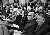 Paddy Moloney of the Chieftains and former member Sean Potts playing the Lament during the Easter Ceremonies in the Pro-Cathedral, Dublin, 01/04/1983 (Part of the Independent Newspapers Ireland/NLI Collection).(Photo by Independent News and Media/Getty Images).