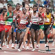 TOKYO, JAPAN August 3:   Nicholas Kipkorir Kimeli of Kenya and Mohammed Ahmed of Canada leading during the latter part of the race in the Men's 5000m round one heat one race at the Olympic Stadium during the Tokyo 2020 Summer Olympic Games on August 3rd, 2021 in Tokyo, Japan. (Photo by Tim Clayton/Corbis via Getty Images)