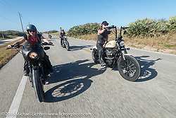 Leticia Cline, Dana Cooley and the Iron Lillies riding south on A1A  for the Hot Leathers ride during the Daytona Bike Week 75th Anniversary event. FL, USA. Tuesday March 8, 2016.  Photography ©2016 Michael Lichter.