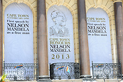 The famous balcony where Nelson Mandela address the people for the first time as a free man during a time of national mourning the death of the first democratically elected president, Nelson Mandela, in front of the Cape Town City Hall, Cape Town, South Africa, Saturday, 7th December 2013. Picture by Roger Sedres / i-Images