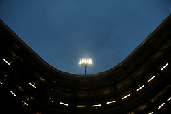 stadium general view, flood light, negative space, stock, stand, soccer stadium during the Dutch Eredivisie match between ADO Den Haag and sc Heerenveen at Kyocera stadium on August 26, 2017 in The Hague, The Netherlands