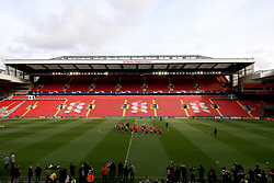 A general view of the Barcelona training session at Anfield Stadium, Liverpool.