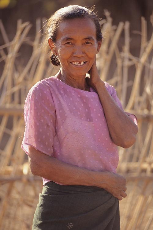 Female farmer poses, Magwe Division, Central Myanmar,