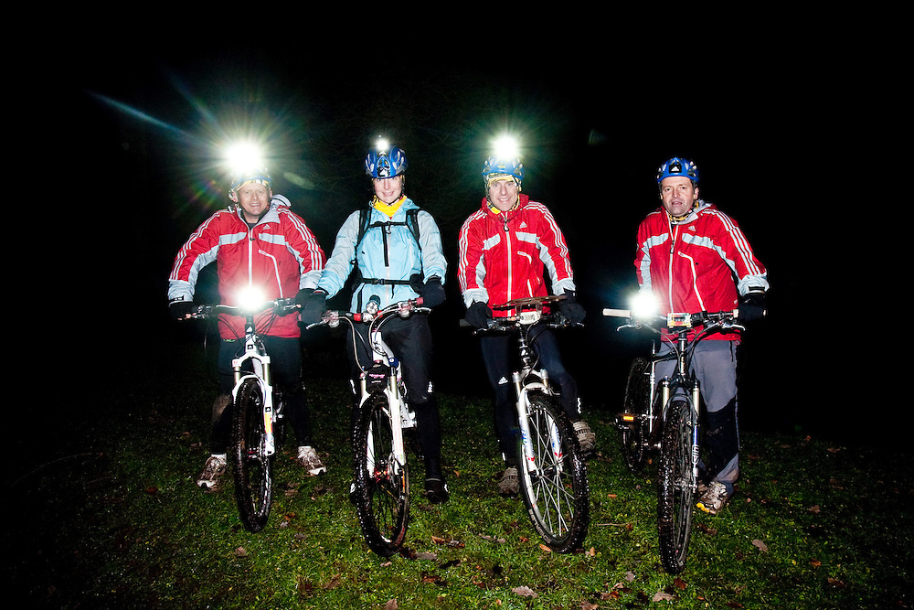 Left to Right - Mike Bushall, Fi Spotswood, Nick Gracie, Richard Maddon during the night time mountain bike Training with AdidasTERREX on the Wenger Patagonia Expedition Race media day. 11/01/2011.Copyrighted work - Permission must be sought before use of this image..Alex Ekins +44 (0)7901 882994.