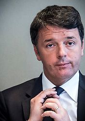 April 28, 2017 - Brussels, Belgium - Former Italian MATTEO RENZI holds a press conference. Renzi is campaigning for the Italian Democratic Party leadership and decided to finish his campaign in Brussels. (Credit Image: © Wiktor Dabkowski via ZUMA Wire)