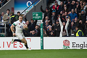 Twickenham, Surrey. UK.  Mike BROWN running in a try, during the England vs Samoa, Autumn International. Old Mutual Wealth Series. RFU Stadium, Twickenham. Surrey, England.<br /> <br /> Saturday  25.11.17  <br /> <br /> [Mandatory Credit Peter SPURRIER/Intersport Images]