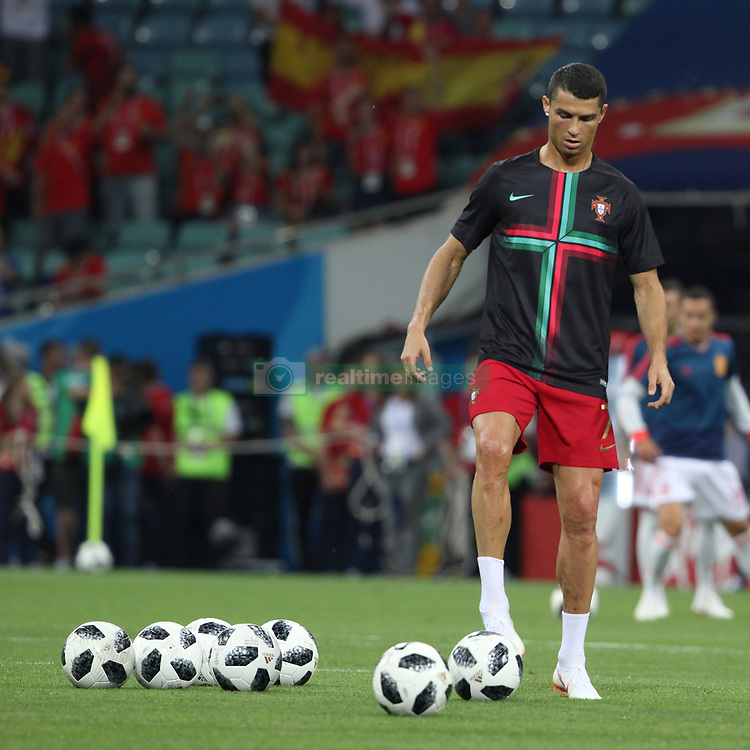 June 15, 2018 - Sochi, Russia - June 15, 2018, Russia, Sochi, FIFA World Cup, First round, Group B, Portugal vs Spain at Fisch Stadium. Player of the national team Cristiano Ronaldo. (Credit Image: © Russian Look via ZUMA Wire)