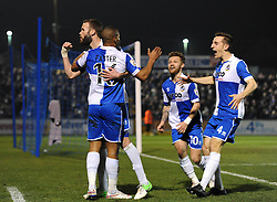 Bristol Rovers' Jerome Easter celebrates with his team mates after scoring. - Photo mandatory by-line: Dougie Allward/JMP - Mobile: 07966 386802 - 20/03/2015 - SPORT - Football - England - Memorial Stadium - Bristol Rovers v Aldershot - Vanarama Football Conference