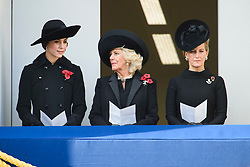 The Duchess of Cambridge, The Duchess of Cornwall and the Countess of Wessex during the annual Remembrance Sunday Service at the Cenotaph memorial in Whitehall, central London, held in tribute for members of the armed forces who have died in major conflicts. Picture date: Sunday November 13th, 2016. Photo credit should read: Matt Crossick/ EMPICS Entertainment.