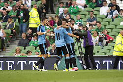 June 4, 2017 - Dublin, Ireland - Uruguay players celebrate after goal during the International Friendly match between Republic of Ireland and Uruguay at Aviva Stadium in Dublin, Ireland on June 4, 2017 Republic of Ireland defeats Uruguay 3-1. (Credit Image: © Andrew Surma/NurPhoto via ZUMA Press)