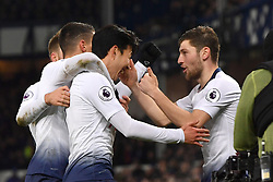 December 23, 2018 - Liverpool, Liverpool, United Kingdom - Tottenham Hotspur's Son Heung-min celebrates scoring his side's fifth goal of the game during the Premier League match at Goodison Park, Liverpool, UK.  Everton v Tottenham Hotspur - Premier League - Goodison Park. Goodison Park. (Credit Image: © Anthony Devlin/i-Images via ZUMA Press)