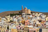 Ermoupolis lookint towards the Greek Orthodox Church of Anastasis built in 1870 on the top of Vrodado Hill, Syros [ ????? ] , Greek Cyclades Islands