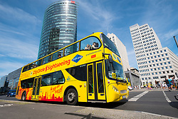 Gray Line city sightseeing tourist tour bus at Potsdamer Platz Square in Berlin, Germany