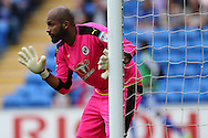 Reading goalkeeper Ali Al-Habsi lines up his defence. EFL Skybet championship match, Cardiff city v Reading at the Cardiff city stadium in Cardiff, South Wales on Saturday 27th August 2016.<br /> pic by Andrew Orchard, Andrew Orchard sports photography.