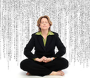 pvc031011a/3-10-11/ss.  Photo illustration of Andrea Nash (CQ) who took a digital sabbath, photographed Tuesday March 8, 2011.  The text behind her is the partial coding from a jpeg image file.  (Pat Vasquez-Cunningham/Journal)