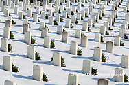 65095-03106 Wreaths on graves in winter Jefferson Barracks National Cemetery St. Louis,  MO