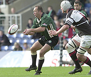 Sport - Rugby 27/04/2002 Parker Pen Shield - Semi-Final<br />London Irish vs Pontypridd - Kassam Stadium - Oxford<br />Exiles, Brendan Venter,  moves the ball along the line.