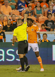 August 4, 2018 - Houston, TX, U.S. - HOUSTON, TX - AUGUST 04:  Houston Dynamo forward Alberth Elis (17) receives a red card for violent conduct during the soccer match between Sporting Kansas City and Houston Dynamo on August 4, 2018 at BBVA Compass Stadium in Houston, Texas.  (Photo by Leslie Plaza Johnson/Icon Sportswire) (Credit Image: © Leslie Plaza Johnson/Icon SMI via ZUMA Press)