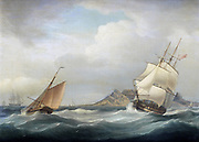 HMS Illustrious heading out of Table Bay in choppy conditions and a stiff breeze, by Thomas Whitcombe (British, 1760-1824). The second Illustrious to serve in the Royal Navy oil on canvas 47 x 63 cm 1811. HMS Illustrious, a 74-gun third rate ship of the line and the second of that name, was built by Randall & Brent at Rotherhithe where her keel was laid in February 1801. Launched on 3 September 1803, she was completed at Woolwich She was first commissioned for the Channel Fleet under Captain Sir Charles Hamilton and was involved in the Battle of the Basque Roads in 1809, in which she won a battle honour, and in the expeditions against the docks at Antwerp and render the Schelde unnavigable to French ships. On 22 November 1810, Illustrious was amongst the fleet that captured Île de France on 3 December.[Note 1] She then took part in the Invasion of Java (1811) in Indonesia.