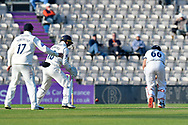 Wicket - Joe Root of Yorkshire is bowled by Liam Dawson of Hampshire during the Specsavers County Champ Div 1 match between Hampshire County Cricket Club and Yorkshire County Cricket Club at the Ageas Bowl, Southampton, United Kingdom on 11 April 2019.