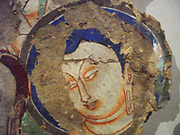 Detail of a scene showing preaching (Buddhist). 1st Half Of The 7th century, fresco found in China, Kizil (site)